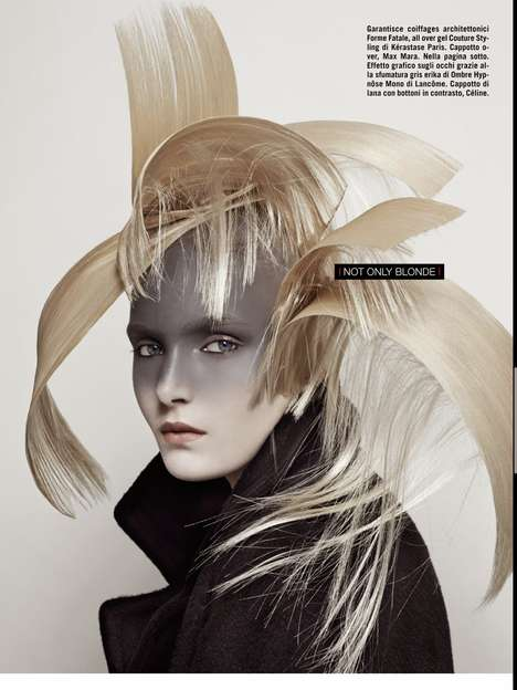 Avant Garde Hairstyle Editorials - Vogue Italia's Maja Salamon Feature Highlights Wild Beauty Looks