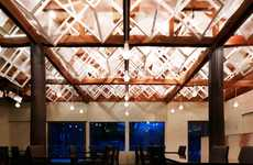 Illuminated Canopy Eateries - Dream Dairy Farm Restaurant Boasts Contemporary Ceiling Elements