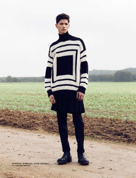 Couture Countryside Editorials - Elle Men Hong Kong's Country Road Fashion Story is Luxe and Edgy