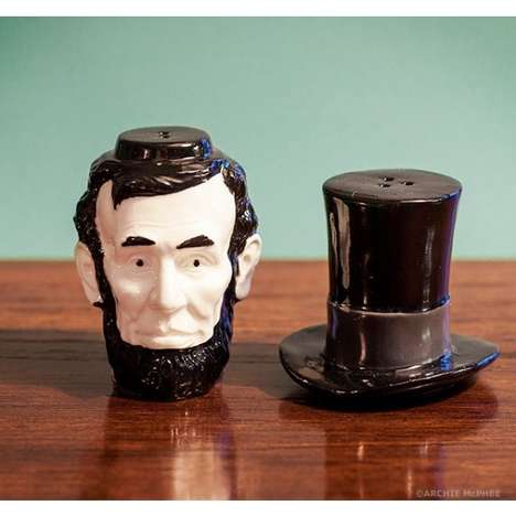 Presidential Spice Dispensers - The Abraham Lincoln Salt and Pepper Shaker Set is Stackable