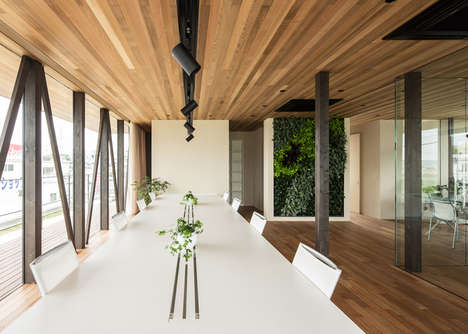 Elegant Arboreal Salons - The Glass + Wood Building Accommodates a Salon and Office