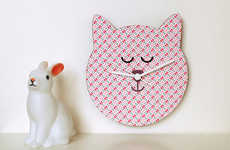 Feline-Themed Nursery Decor - This Cat Wall Clock from Etsy is Perfect for Children's Rooms
