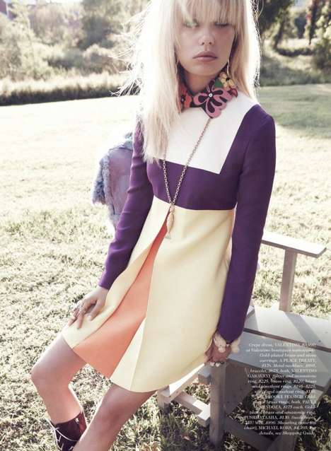 Convivial Retro Editorials - Frida Aasen Stars in the Elle US December Issue
