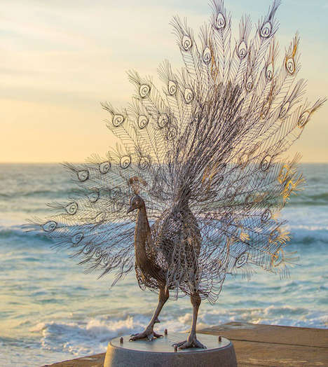 Steel Animal Sculptures - Artist Byeong Doo Moon Creates a Majestic Deer and Peacock