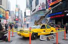 Beat-Up Cab Installations - This Promotional Marketing Stunt Takes an Axe to an NYC Cab