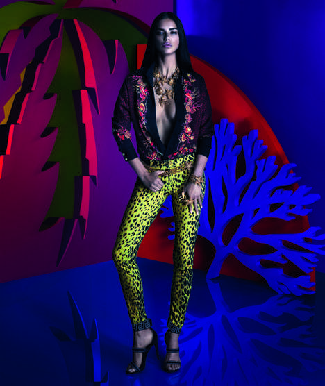 Sultry Tropical Campaigns - Adriana Lima Stars in the Versace for Riachuelo Campaign