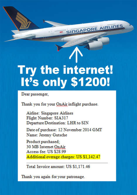 Airplane Internet Gouging - Singapore Airlines Billed Me $1200 for The Internet