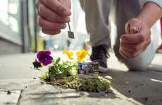 Miniature Metropolis Gardens - The Pothole Gardener Spruces up London's Pockmarked Streets
