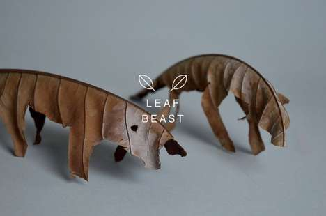Dried Foliage Scuptures - Baku Maeda Creates Animal Art Using Organic Leaf Materials