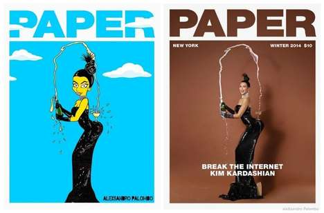 Racy Celebrity Cartoons - The Kim Kardashian Paper Magazine Photoshoot Gets Simpsonized