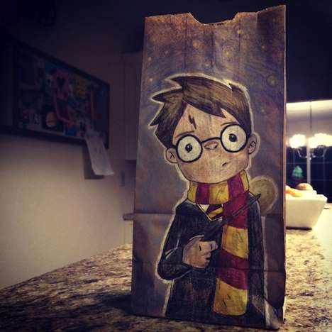 Brown Paper Bag Cartoons - Christy Kilgore's Lunch Bag Drawings Feature Cute Pop Culture Characters