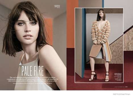 Neutral Chic Officewear - Actress Felicity Jones Stars in InStyle's Pale Fire Editorial