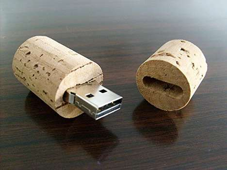 Wine Cork Flash Drives - This High Quality Vino-Inspired Cork USB Transfers Files at Top Speed
