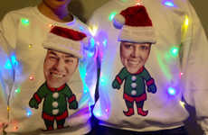 Personalized Holiday Jumpers - This Ugly Christmas Sweater is Adorned with a Custom Photo and Lights