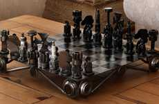 Charitable Upcycled Games - The Chess Set is Made Out of Recycled Auto Parts and Helps Those in Need