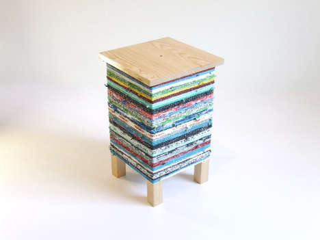 Plastic Bag-Wrapped Stools - CROKÉ by Hugo Ribeiro is an End Table Covered in Crocheted Plastic Bags