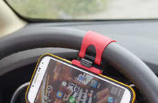 Driver-Focused Mobile Accessories - This Car Smartphone Holder is Conveniently Fitted to One's Wheel