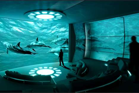 Immersive Yacht Cinemas - This Concept Theatre on a Yacht Projects Underwater CCTV Imagery