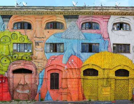 Massive Face Murals - Street Artist Blu Turns the 48 Windows of a Roman Building into Diverse Faces
