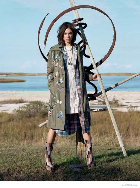 Bohemian Fall Fashion - Model Jacquelyn Jablonski Wears Subtly Whimsical Outfits for ELLE Italy