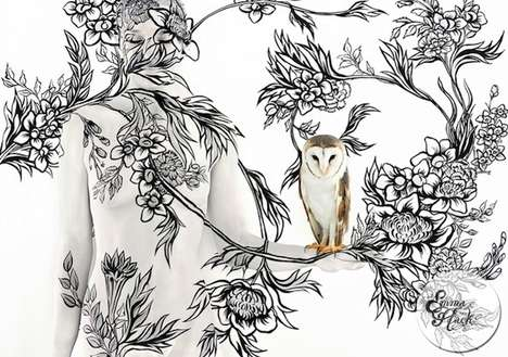 Wearable Wallpaper Photography (UPDATE) - Emma Hack Creates Living Wall Coverings With Body Paint