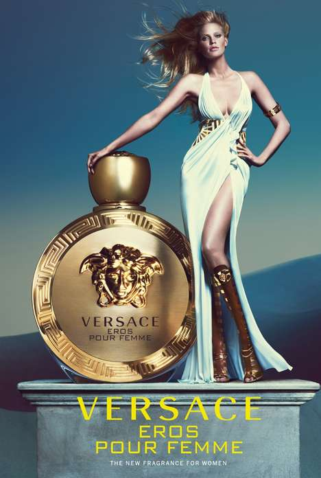 Goddess Scent Ads - Versace's Eros Pour Femme Fragrance Campaign Stars Model Lara Stone