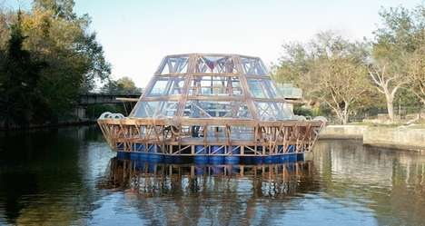 Floating Green House Architecture - Studio Mobile's The Jellyfish Barge is a Modern Garden Residence