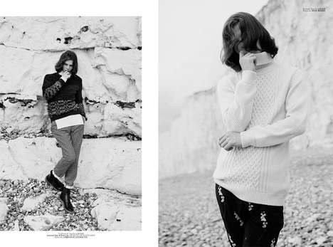 Cozy Beachside Editorials - Client Magazine's Myths and Legends Story Boasts Layered Knit Styles