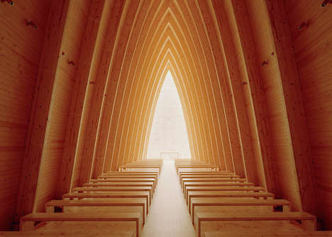 Curved Contemporary Chapels - St. Henry's Ecumenical Art Chapel is a Modern Worship Space