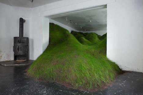 Grassy Indoor Installations - Per Kristian Nygård's Grass Sculpture Challenges Spatial Limitations