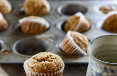 Festive Gingerbread Muffins - This Seasonal Muffin Recipe from How Sweet It Is has a Hint of Maple