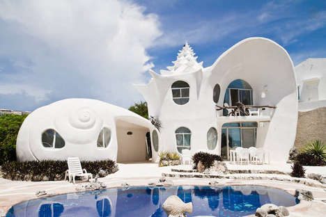 Whimsical Aquatic Architecture - The Seashell House in Mexico is Inspiring and Mermaid-Themed