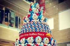Anime Christmas Trees - Singapore's One Raffles Place Hosts a Tree Made from Doraemon Plushies