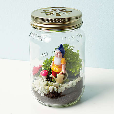 Minature Mason Jar Dioramas - CB2's Gnome Terrarium is Adorably Quirky in its Design