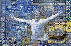 Ornate Soccer Star Mosaics - Charis Tsevis Creates Monumental Cristiano Ronaldo Murals