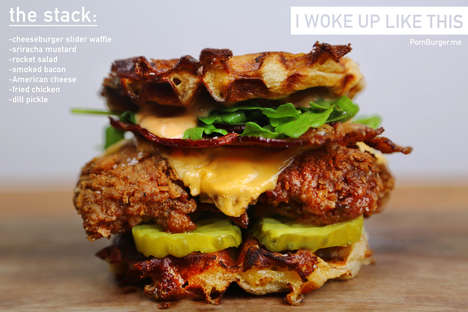 Southern Bacon Cheeseburgers - The South Rises Again with this Flawless Chicken and Waffles Burger