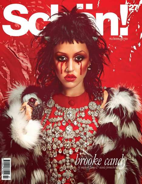Shocking Red-Eyed Editorials - The Brooke Candy for Schön Feature is Dark and Captivating