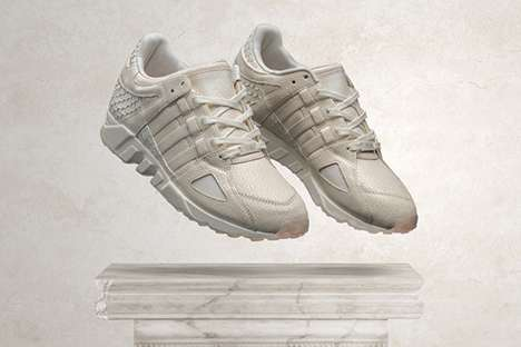 Minimalist Rapper Runners - The Adidas x Pusha T Collaboration Features Crackled White Leather