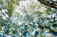 Tree-Mounted Installations - The Mirage Pavilion Display Features Intertwined Mirrors
