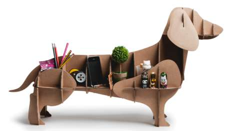 Cardboard Canine Shelving - This Lifesized Paper Dog Sculpture Doubles as a Handy Storage Unit