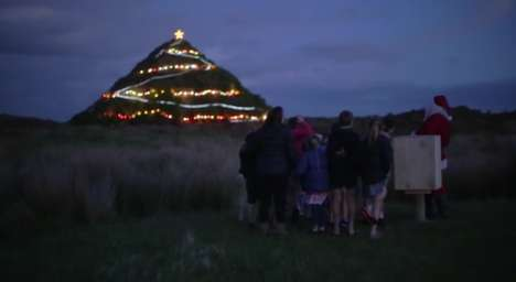 Mountainous Holiday Trees - Air New Zealand Set Up a Giant Christmas Tree on a Big Hill