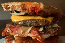 Pizza Stacked Sandwiches - The Vulgar Chef's Epic Leftover Pizza Burger is Also a Club Sandwich