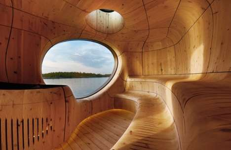 Curvaceous Cave-Like Architecture - The Grotto Sauna by the PARTISANS Design Group is Challenging