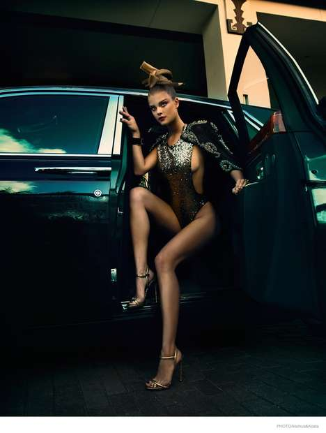 Metallic Japanese Editorials - The Photo Magazine Nina Agdal Photoshoot Includes Asian Hairstyles
