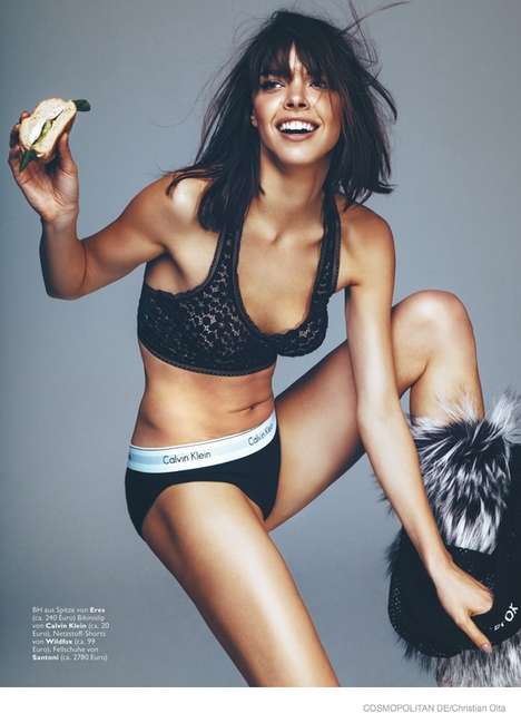 Chic Childish Editorials - The Cosmopolitan Germany Striptease Photoshoot is Playful and Funky