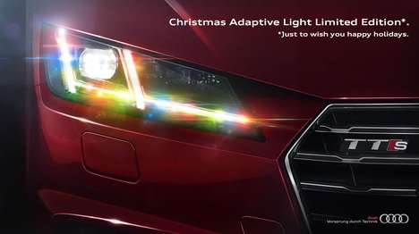 Festive Headlight Ads - The Christmas Audi Adaptive Light Brings Color and Cheer to Cars