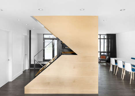 Angular Maple Staircases - This Montreal Home Features a Dynamic Staircase