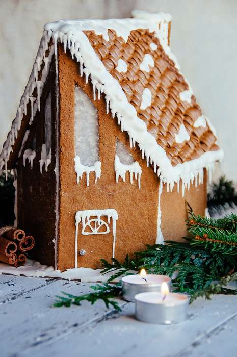 Festive Cottage Cookies - The Hint of Vanilla Gingerbread Cabin Resembles a Faux Getaway Home