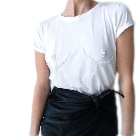 Sensually Hand-Beaded T-Shirts - The Tit Tee by Sarah Shikama Gives the Illusion of Uncovered Bosoms