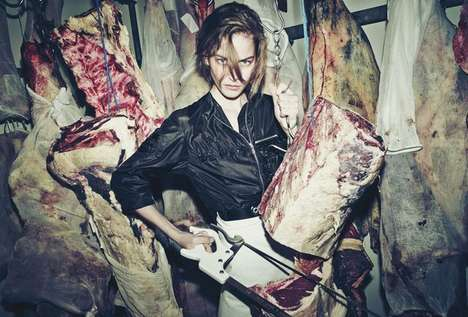 Bloody Butcher Editorials - The CR Fashion Book Boucherie Desnoyer Photoshoot Features Meat Hooks